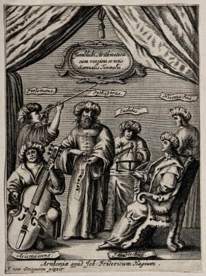 view Mathematicians: Ptolemy, Pythagoras, Euclid, Nicomachus, Aristoxenus and Iamblichus. Engraving after J. van Steegeren, 1667 or 1668.