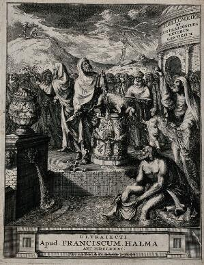 view An ancient priest killing a lamb as a sacrifice amidst a crowd of people. Etching by J. van den Aveele, 1681.