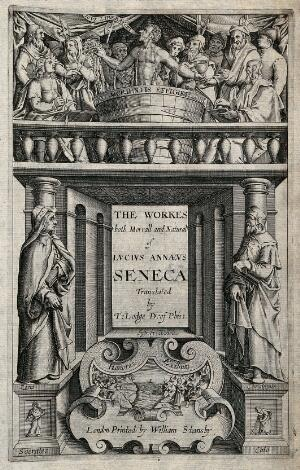view Stoicism: above, the suicide of Seneca; middle, Zeno and Chrysippus; below, the suicides of Socrates and Cato. Engraving by W. Hole, ca. 1614.