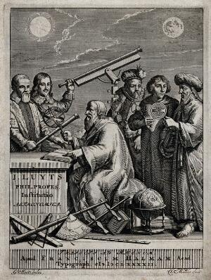 view Copernicus and five other astronomers with astronomical instruments. Engraving by J. Mulder after G. Hoet, 1692.