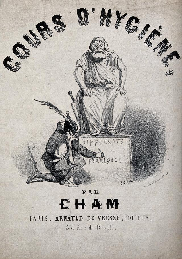 A fool is writing an insult on the pedestal of a statue of Hippocrates. Lithograph by Cham, ca. 1850.