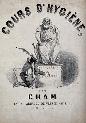 view A fool is writing an insult on the pedestal of a statue of Hippocrates. Lithograph by Cham, ca. 1850.