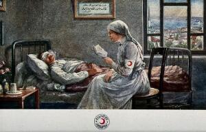 view A Red Crescent nurse is sitting at the bedside of a wounded soldier with a bandage over his eyes; she is reading him a letter. Colour process print.