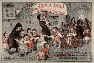 view Toddlers and children queuing up to see the doctor. Postcard after A. Dick Dumas, ca. 1920.