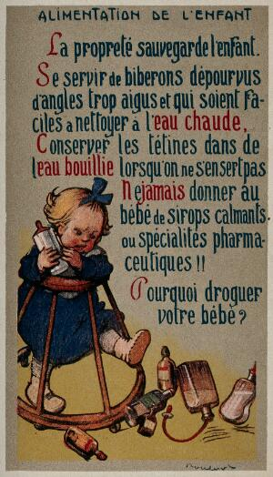 view A toddler in a walking frame is kicking bottles of medicine. Postcard, ca. 1920.