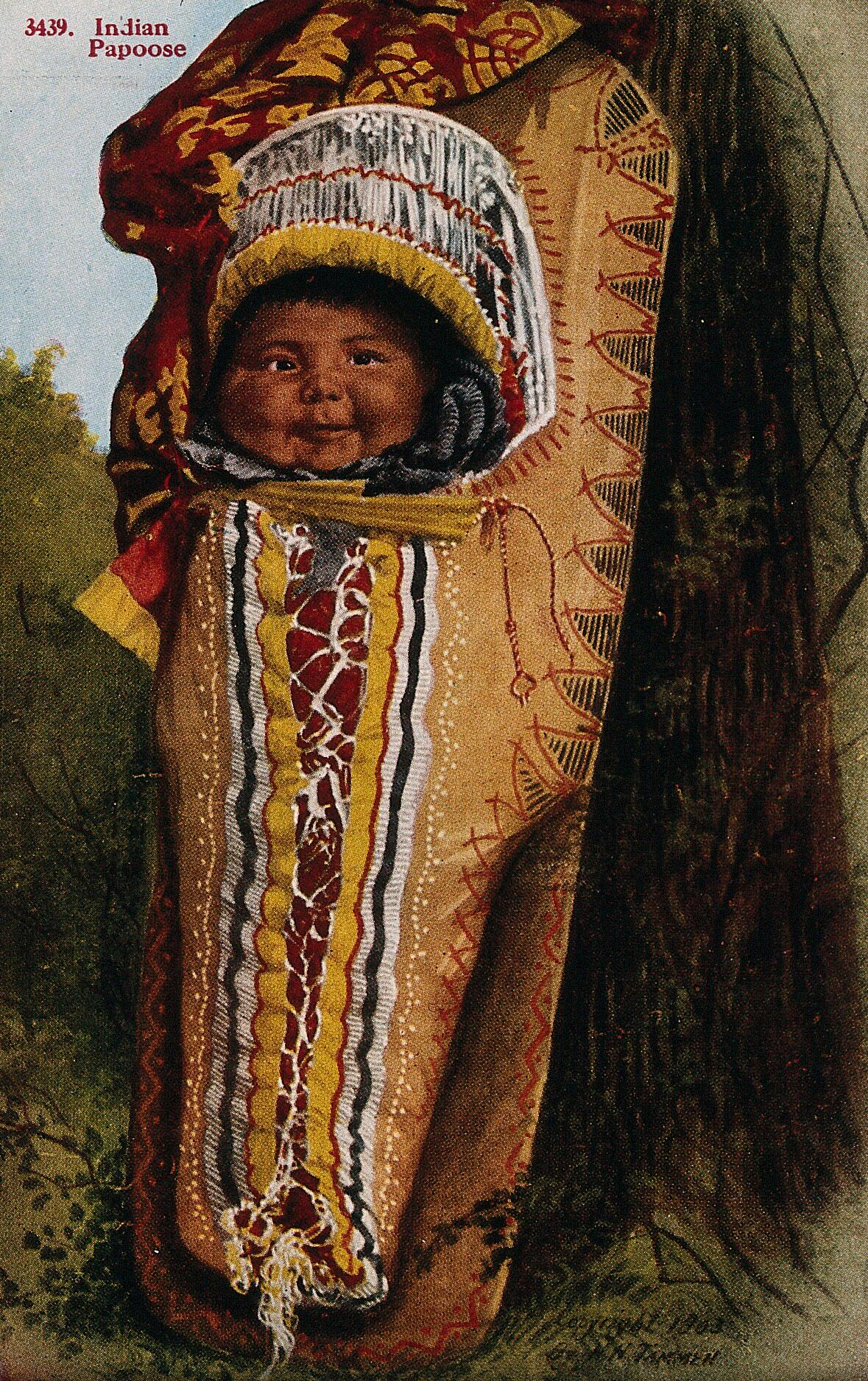 52891a4d05b An Indian papoose in a baby carrier. Photographic postcard