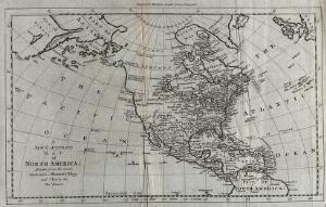 view North and Central America and the Pacific and Atlantic Oceans: map. Engraving, ca. 1777.