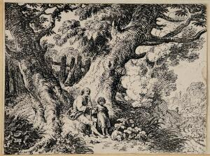 view An old man and a child are seated under a tree; dog sleeping on the ground. Lithograph by R. Corbould, 1802.