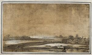 view Landscape; fisherman in the foreground, village in the background. Lithograph by N. Strixner after Rembrandt, ca. 1800.