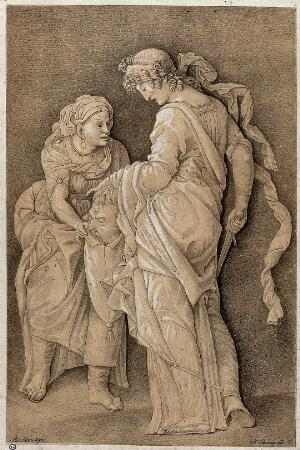 view Judith is putting the head of Holofernes in a bag held by her servant. Lithograph by N. Strixner after A. Mantegna, ca. 1800.