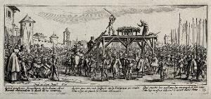 view Criminal soldiers are broken on the wheel on a scaffold in the middle of a marketplace. Etching by Jacques Callot, ca. 1633.