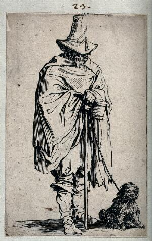 view A blind man with his dog. Etching by Jacques Callot, ca. 1622.