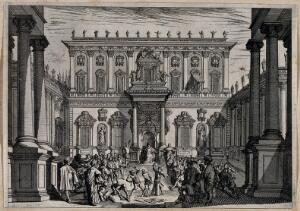 view Christ beaten and mocked before the High Priest Caiphas. Etching by Jacques Callot.