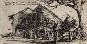 view Travelling gypsies resting under a tree outside a village. Etching by Jacques Callot.
