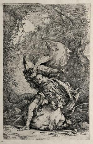 view Jason fighting with the dragon. Etching by S. Rosa.