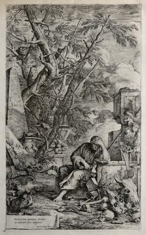 view Democritus sits in meditation surrounded by ruins and skulls. Etching by S. Rosa.