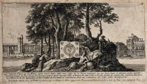 view An island in the Seine with the River Goddesses of the Oyse, the Marne and the Seine displaying the royal coat of arms in front of the Louvre. Etching by I. Silvestre, 1654.
