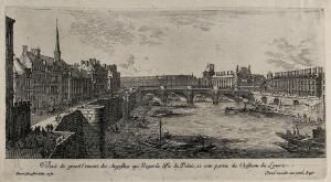 view The Seine with the convent of the Augustinians and a part of the Louvre. Etching by I. Silvestre.