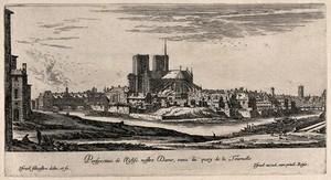view Isle de la Cité with Notre Dame. Etching by I. Silvestre.