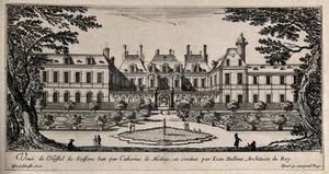 view The Hôtel de Soissons in Paris. Etching by I. Silvestre.