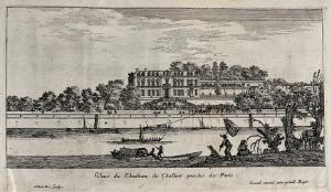 view The castle of Chaillot near Paris. Etching by I. Silvestre.