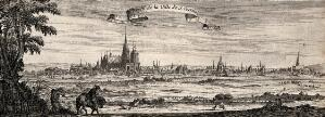 view A panorama of St. Denis near Paris. Etching by I. Silvestre.