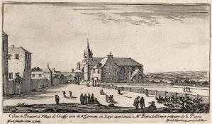 view The priory and village of Croissy near St. Germain en Laye. Etching by I. Silvestre.