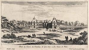view The castle of Gros-bois near Paris. Etching.