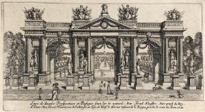 view A triumphal arch in a garden. Etching by Israel Silvestre.