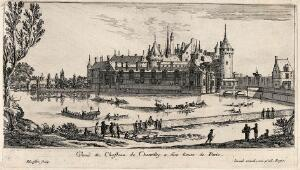 view The castle at Chantilly near Paris. Etching by I. Silvestre.
