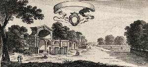 view Parts of the gardens at Fontainebleu. Etching by Perelle.