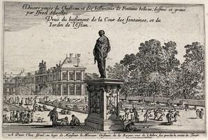 view The Cour des Fontaines and the Jardin de l'Estan at Fontainebleau. Etching by I.Silvestre.