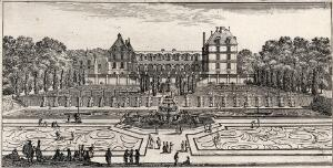 view The castle of Liancourt and the cascades in the gardens. Etching by I. Silvestre.