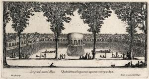 view The Grand Carré d'Eau at Liancourt. Etching by I. Silvestre.