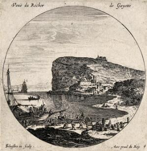 view The Rock in Gayette, Rocher de Gayette. Etching by I. Silvestre.