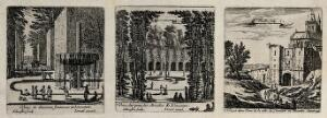 view One of the fountains at Liencourt. Etching by I. Silvestre.
