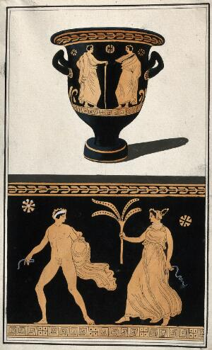view Above, a red-figured Greek wine bowl (krater); below, detail of the decoration showing a naked man and a woman holding a plant. Watercolour by A. Dahlstein, 1760/1780 (?).