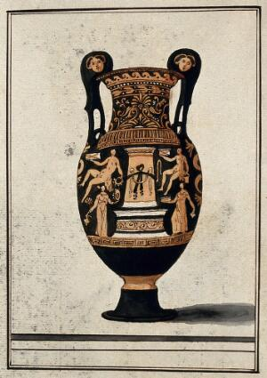 "view A red-figured Greek wine bowl (volute krater) also called ""the Hamilton Vase"", decorated with figures of men and women around a stele; volutes ornamented with female heads. Watercolour by A. Dahlstein, 1760/1780 (?)."