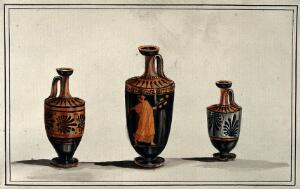 view Three Greek wine-jugs (oinochoes); left and right vases decorated with palms; middle one decorated with a red figure draped woman. Watercolour by A. Dahlstein, 1760/1780 (?).