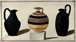 view Three Greek jugs. Watercolour by A. Dahlsteen, 176- (?).