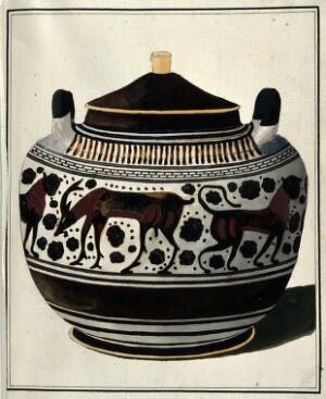 view Greek lidded vessel (Corinthian lebes gamikos ?) decorated with a frieze of stylised animals and foliage. Watercolour by A. Dahlstein, 1760/1780 (?).