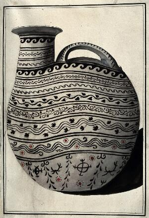 view Greek pouring vessel decorated with stylised foliage and geometric patterns (protocorinthian period 720-620 B.C. ?). Watercolour by A. Dahlsteen, 176- (?).