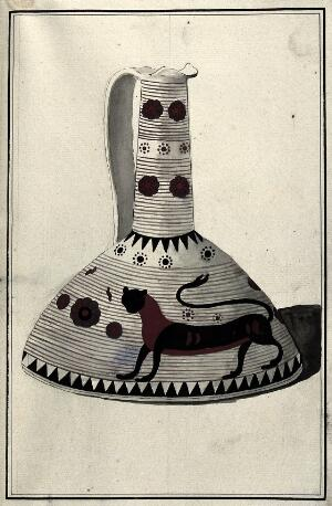 view White ground Greek pouring vessel (protocorinthian period ca. 650 B.C.) decorated with foliage and a stylised dog in the black-figure technique. Watercolour by A. Dahlstein, 1760/1780 (?).