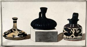 view Three Greek pouring vessels; left, red-figured vessel; middle, black vessel with a handle; right, protocorinthian vessel (ca. 670 B.C.) decorated with black-figured swans. Watercolour by A. Dahlstein, 1760/1780 (?).