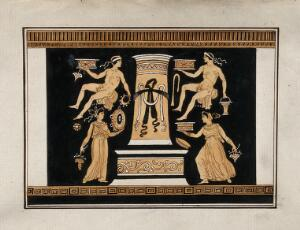 """view Reverse of the Greek red-figured volute-krater also known as """"the Hamilton Vase"""" (made in Italy ca. 330 B.C.), showing two men and two women, holding various objects, around a stele. Watercolour by A. Dahlstein, 1760/1780 (?)."""