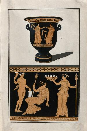view Above, red-figured Greek wine bowl (bell-krater); below, detail of decoration showing a seated woman, a satyr and a woman holding a basket of eggs ?. Watercolour by A. Dahlstein, 1760/1780 (?).