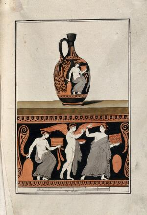 view Above, red-figured Greek wine jug (lekythos) decorated with figures and a palm motif; below, detail of the decoration showing a woman holding a casket followed by a winged figure holding a plate, and a seated woman draped below the waist. Watercolour by A. Dahlstein, 1760/1780 (?).