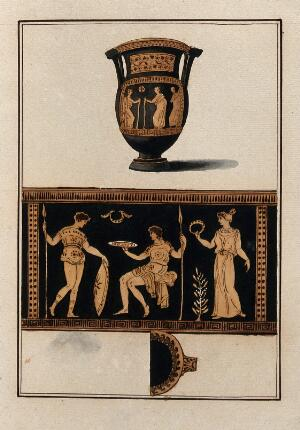 view Above, red-figured Greek wine-mixing bowl (column krater); below, detail of the decoration showing a woman, a man holding a shield and a spear and a seated man holding a spear. Watercolour by A. Dahlstein, 1760/1780 (?).