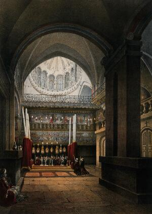 view Stone of Unction within the Greek chapel, Jerusalem. Chromolithograph by H. Clerget and J. Gaildrau after François Edmond Pâris, 1862.