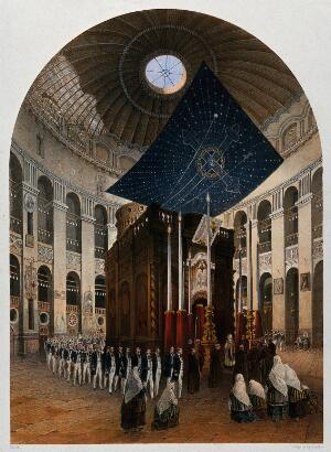 view Procession inside the Church of the Holy Sepulchre, Jerusalem. Chromolithograph by H. Clerget and J. Gaildrau after François Edmond Pâris, 1862.